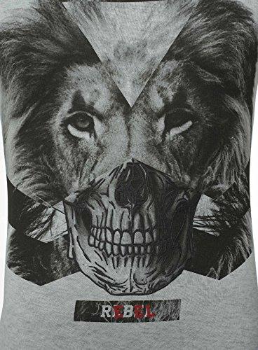 Key Largo Herren T-Shirt REBEL Vintage Optik Printshirt Löwe Totenkopf Skull Lion Dunkelblau
