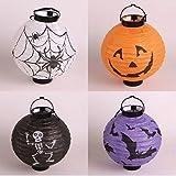 UChic 4 Stücke Halloween Kürbis Laterne LED Kürbis Spinne Fledermaus Skeleton Licht Halloween Indoor Outdoor Urlaub Party Decor Papier Laterne