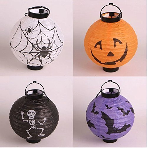 UChic 4 Stücke Halloween Kürbis Laterne LED Kürbis Spinne Fledermaus Skeleton Licht Halloween Indoor Outdoor Urlaub Party Decor Papier Laterne (Niedliche Halloween Kürbis Vorlagen)