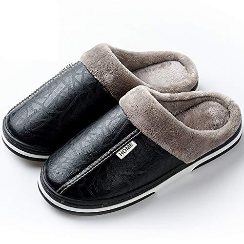 W&tt impermeabile pu cotone pantofole indoor caldo antiscivolo scarpe di cotone half-pack tacco con scarpe casa per gli uomini e le donne,black,41/42