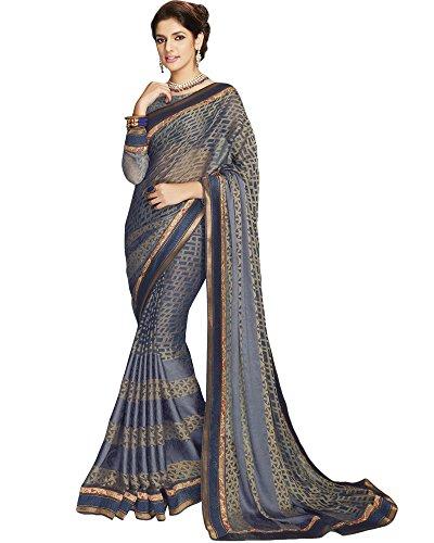 Vishal Prints Navy Blue Brasso Saree With Weaving & Foil Work