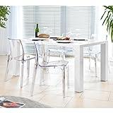 Esstisch-Gruppe weiß Hochglanz 120x80 cm recht-eckig mit 4 Sari Design Stühlen | Luca | Essgruppe weiss mit 4 transparenten Stühlen | Designer Tischgruppe mit Ess-Tisch weiß lackiert 120cm x 80cm 5 tlg.