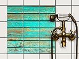 Fliesen-Schutz / Klebefolie 15x15 cm 3x3 / Design Folie Wooden Aqua / Küchendekoration