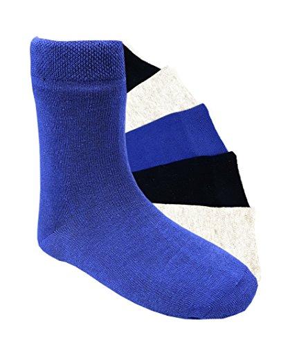 6 Paar Jungen Socken Kinder Strümpfe handgekettelt Spitze ohne Naht Baumwollsocken uni Gr. 35-38 (wjuni - Nahtlose Schwarz Socken Jungen