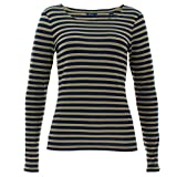 GANT Damen Shirt Ringelshirt Langarm gestreift 1X1 Streifen Blau/Grün Größe XL