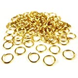 Packet of 350+ Gold Plated Iron 0.7 x 8mm Jump Rings - (HA11440) - Charming Beads