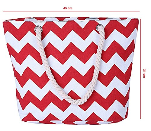 GetThatBag© Donne Grande Tela Beach brillante Tote Shopper Handbag - Bold Blu Giallo Rosa Rosso Viola Grigio Marrone Verde Nero Stripes floreali Circles Chevron Red Chevron
