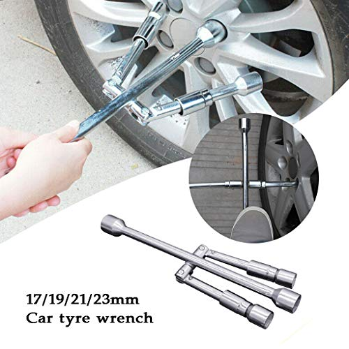 htfrgeds 4-Way Lug Wrench,Universal Wrench 4 in 1 Socket Wrenches,Stahl,Für 17/19/21/23mm Auto-Reifenschlüssel -