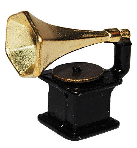 Unbekannt Miniatur Grammophon - aus Metall - Maßstab 1:12 - Plattenspieler Schallplatte Musik Schallplattenspieler - Musikinstrument Musik Instrument - für Puppenstube .. (Plattenspieler Für Schallplatten)