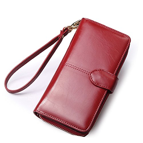 Mailo Multi-carta di posizione due pieghe cerniera portafoglio a lungo con cerniera a lungo in pelle di modo della borsa 9.5x19x4 cm (Dark Blue) rosso