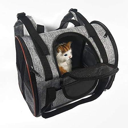 Ewolee Groß Haustier Rucksäcke haustiertragetasche, Atmungsaktiv Stoff Faltbarer Hundetasche Haustier-Reise-Rucksack für Hunde und Katzen, 35x23x28cm