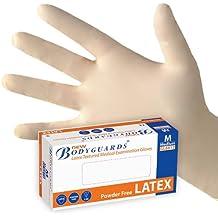 Tamaño mediano–Caja de 100mejor precio guardaespaldas desechables (látex sin talco con relieve guantes de grado médico.