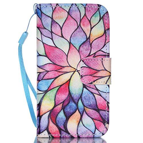 Felfy Kompatibel mit Hülle iPhone 4 / 4S Handyhülle Ultra Slim Flip Leder Etui Ledertasche Schutzhülle Case ablösbar Bunt Blume Muster Handy Tasche Cover Case,EINWEG Verpackung (Muster Iphone 4s Fall)
