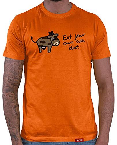 HARIZ  Herren T-Shirt Eat Your Own Ass, Idiot Veganer Vegetarier Sprüche Lustig Geschenk Orange M -