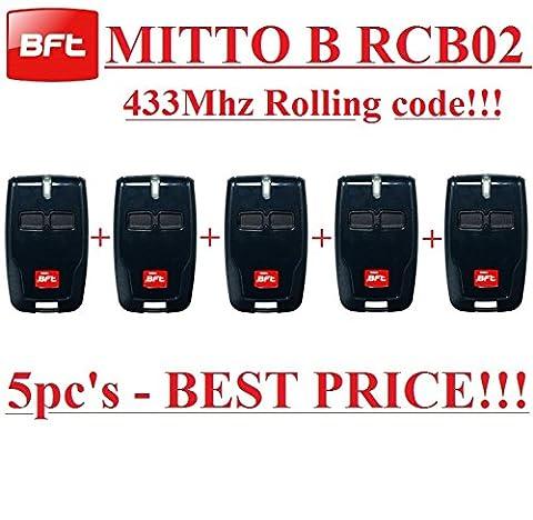 Telecommande Bft 02 - 5x Télécommande BFT MITTO B rcb022canaux, 433,92MHz
