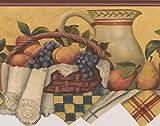 Table de Cuisine avec pichet Corbeille à fruits Baies Jaune moutarde Frise papier peint Motif rétro, rouleau de 15'x 17,1cm