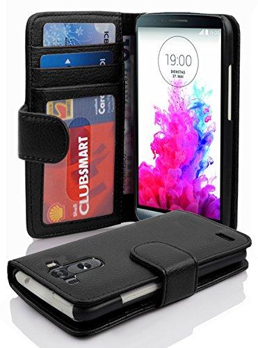 LG G3 Hülle in SCHWARZ von Cadorabo - Handyhülle mit 3 Kartenfächer für LG G3 Case Cover Schutzhülle Etui Tasche Book Klapp Style in OXID SCHWARZ