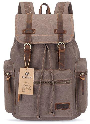 Imagen de bluboon vintage  de lona para hombre/mujer casual backpack canvas rucksack ejercito verde