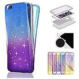 Sycode Full Body Glitzer Gradient Farbe Beidseitiger Vorne und Hinten 360°Handy Tasche Schale Etui für Samsung Galaxy S8 Plus-Blau Lila