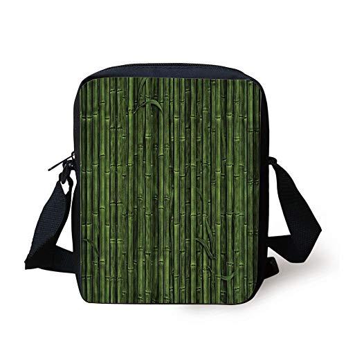 Bamboo,Lined Up Tall Bamboo Stems Sticks Growth Environment Ecology Diversity of Universe Image,Green Print Kids Crossbody Messenger Bag Purse