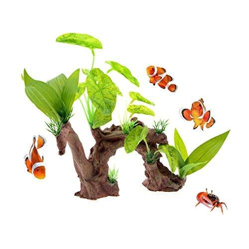 Saim Kunstharz Treibholz Tree Root Aquarium Ornament Fish Tank Künstliche Kunststoff Pflanzen Decor -