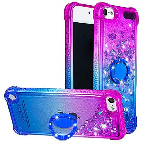 Dclbo cover per ipod touch 5 / touch 6 / touch 7 custodia cover case liquido brillantini glitter bling trasparente silicone bumper sottile copertura con anello supporto ring-viola blu