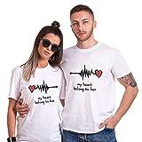 Couple Shirt pour Femme Homme Amoureux Coton Amant Tees Shirts 2 Pcs Logo T-Shirt Impression Cœur...