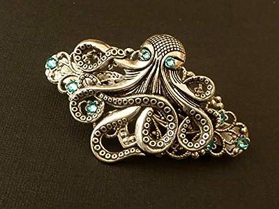 Pince à cheveux Steampunk avec pieuvre en argent antique