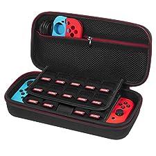 Funda para Nintendo Switch - Younik versión mejorada de estuche dura para transporte con gran espacio de almacenamiento para 19 cartuchos de juegos, Adaptador de corriente u otros accesorios de Nintendo Switch