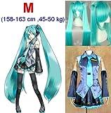 VOCALOID, Hatsune Miku Cosplay Wig 120 centimetri, taglia M: altezza 158-163cm, peso 45-50 kg