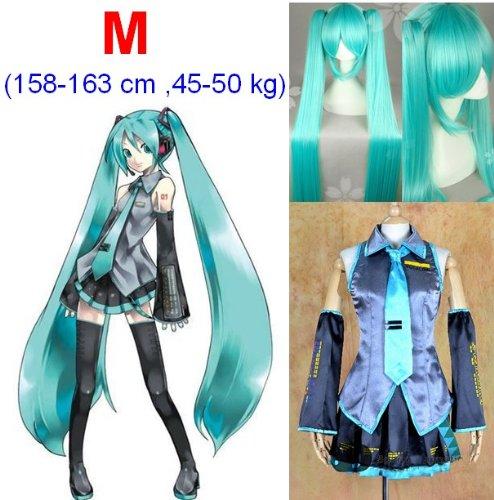 (Vocaloid Miku Hatsune Cosplay Kostüme,Größe M(158-163cm, 45-50 kg)+Vocaloid Miku Hatsune Perücke 120cm)