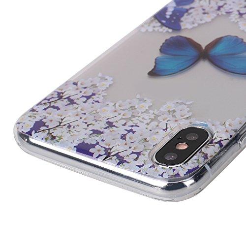 Cover Soft per iPhone X, Asnlove Morbida Elegante Caso Ultra Sottile TPU Gomma Gel Custodia Motif di Colore Cassa Antiurto Silicone Trasparente Case Posteriore Per iPhone X, Colore-17 Colore-3