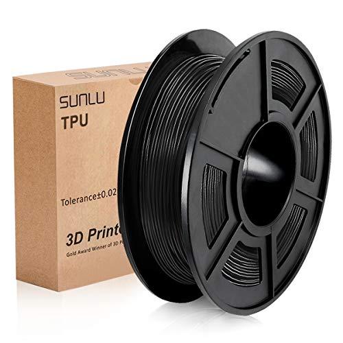 SUNLU 1.75mm Flexible TPU 3D Printing Filament, Dimensional Accuracy +/- 0.02 mm, 0.5KG Spool, 1.75 mm,Black