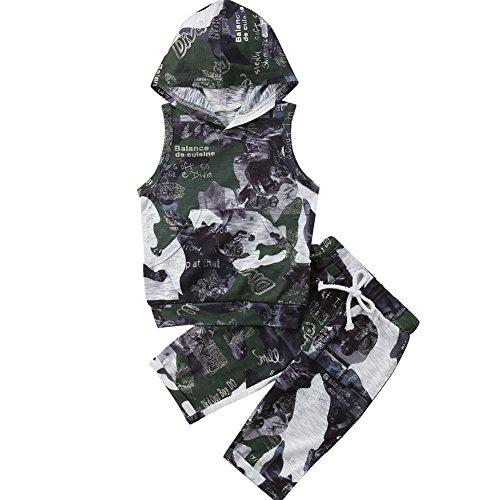 Baby Kleinkind Jungen Mädchen Camo gedruckt ärmelloses Hoodie Top mit Hose Kleidung Set (Grün, 9-18 Months) (Camo-outfits Mädchen Kleinkind Für)