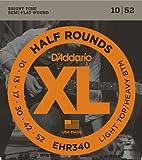 D'Addario Cordes à filet demi-rond pour guitare électrique D'Addario EHR340, Light Top/Heavy Bottom, 10-52