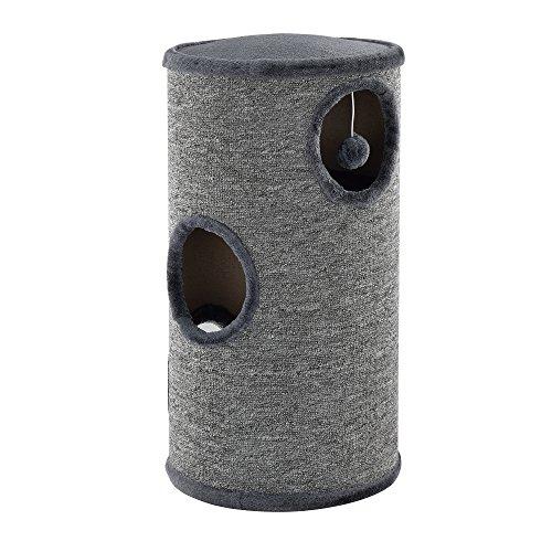 [en.casa]® Kratzturm Kratztonne Katze Samtplüsch, Teppichflor, MDF-Holz Grau Farbe - 70x37x37cm