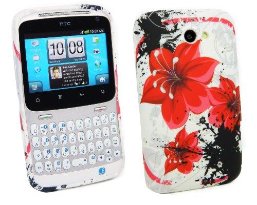 Kit Me Out TPU-Gel-Hülle für HTC Chacha - Weiß Exotische Blumen
