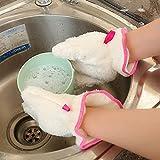 Prevently Haushalt Küche Reinigung Handschuhe,Antihaft-Öl Handschuhe Geschirrspülen Handschuh Bambusfaser Wasserdichte für Garten, Reinigung, Abwaschen (White)