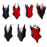 FITTOO Bikini CINCO ESTILOS Mujer Push-up Acolchado Bra Trajes de baño una pieza V-cuello vendaje color solido #1 Negro X-Large