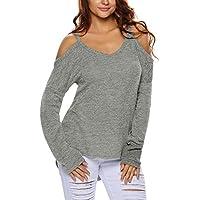 Minetom Donne Fuori Dalla Spalla Casuale Lavorato A Maglia Maglione Baggy Jumper Maglioni Camicetta Top Blouse Sweater Sweatshirt
