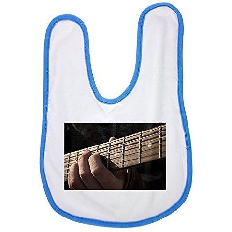 Guitar, Music, Rock, Musical Instrument baby bib in blue (Guitar Music Bib)