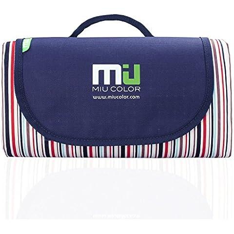 MIU COLOR® - Robusto tappeto per picnic, con maniglie, resistente all'umidità, all'acqua e alla sabbia, ripiegabile. Single-deck Streak