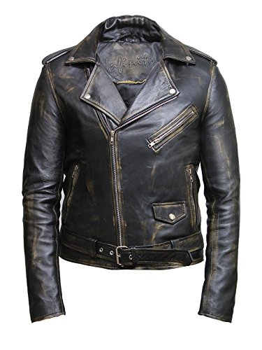 Brandslock Herren Vintage Brando Black Rub Off Lamm Leder Biker Jacke (M, Schwarz)