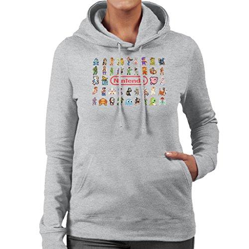 Nintendo Style Pixel Characters Collage Women's Hooded Sweatshirt Heather Grey