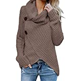 Boomboom Women's Long Sleeve Blouse Unique Style Solid Warm Sweater Pullover Tops XL