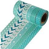 uooom 6pcs 10m x 15mm cinta decorativa washi cinta de carrocero adhesivo Scrapbooking DIY Craft regalo OW-9024
