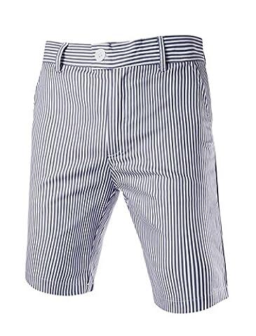 Allegra K Men Stripes Flat Front Plain-Front Mid Rise Chino Walk Shorts W34 Navy Blue