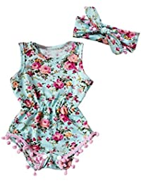 SAMGU Summer Floral Tassel Barboteuse Jumpsuit + Bandeau 2PCS Outfit Sunsuit Tracksuit Vêtements Set