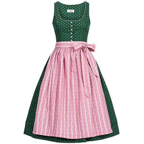 Billig 50 Kostüm - Almsach Damen Trachten-Mode Midi Dirndl Irmi in Dunkelgrün traditionell, Größe:50, Farbe:Dunkelgrün