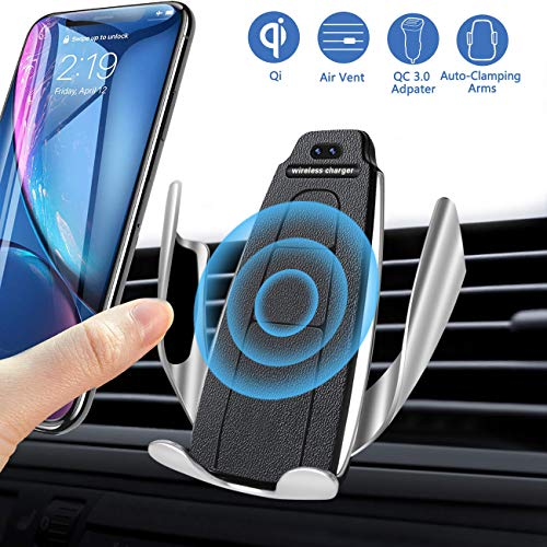 CESHMD Handyhalterung Auto Lüftung Induktion KFZ-Ladegerät Automatische-Klemmung Sensing Qi Geräte Drahtloses Air Vent Phone Holder für iPhone Samsung Huawei Smartphone